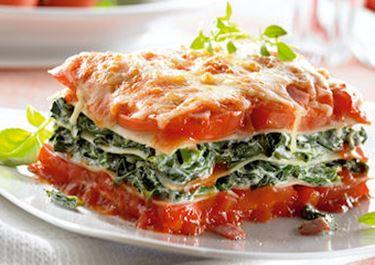 Lasagne mit Spinat und Schinken