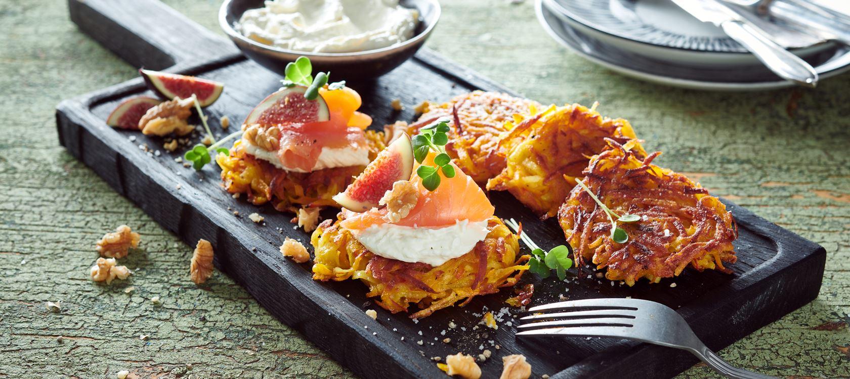 Kürbis-Kartoffelrösti und delikate Creme mit Arla Buko® der Sahnige