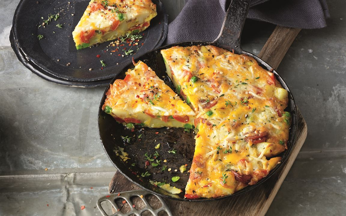 Spanische Kartoffel-Paprika-Tortilla mit Finello® Ofenkäse