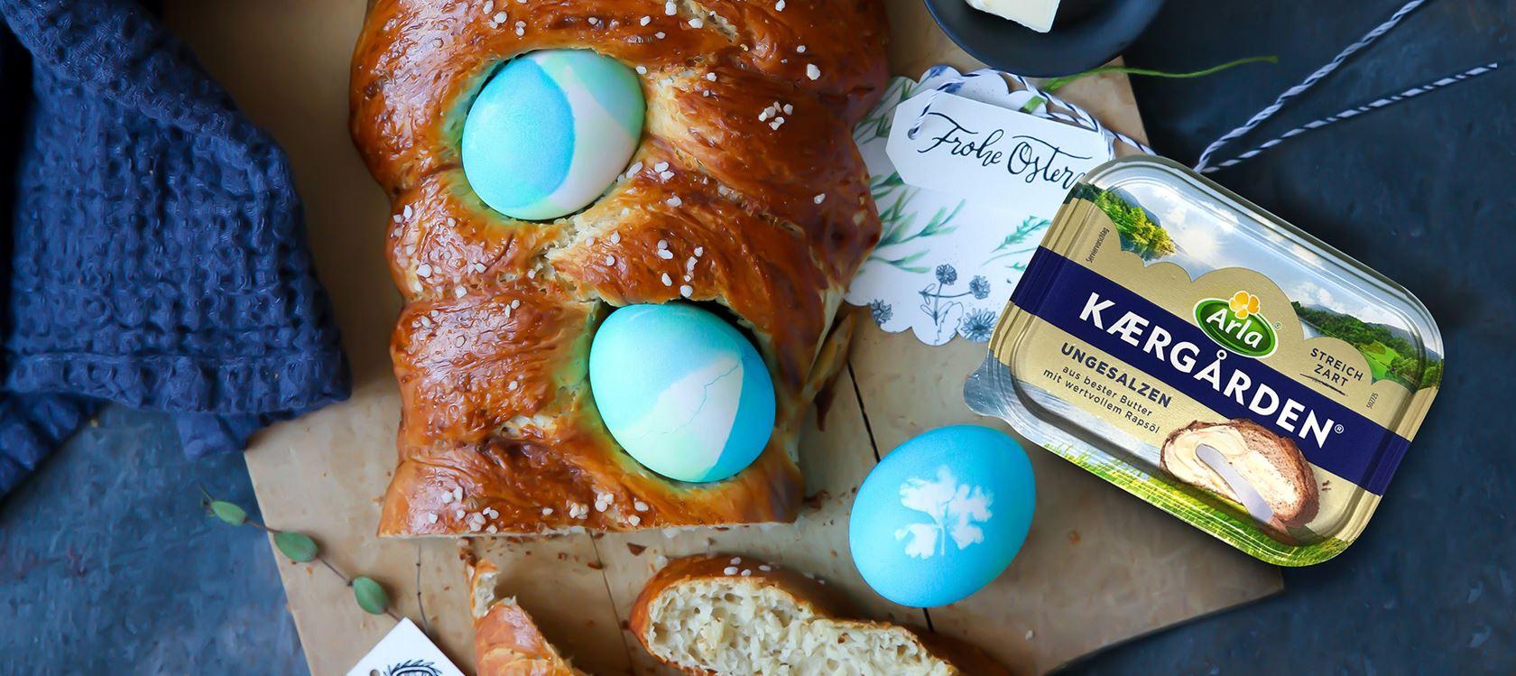 Laugen-Hefezopf mit Ostereiern