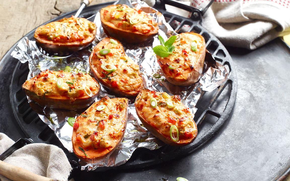 Gefüllte Süßkartoffel vom Grill