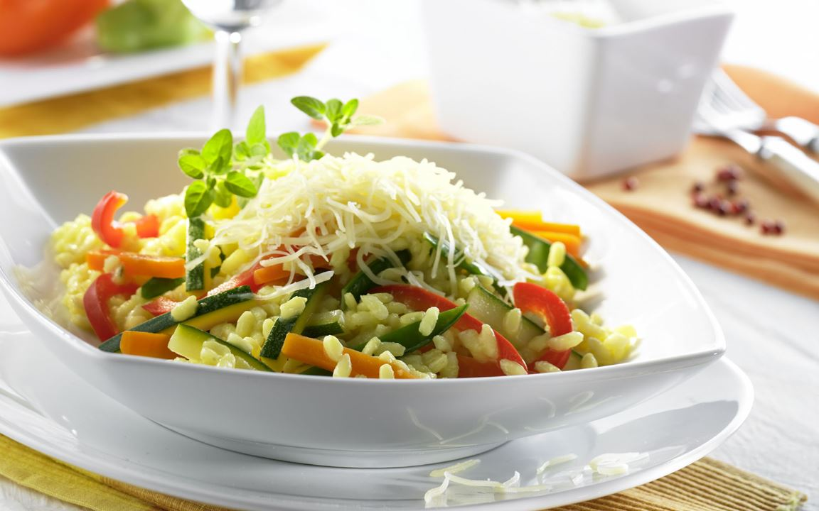 Gemüse-Risotto mit Finello® Pastakäse