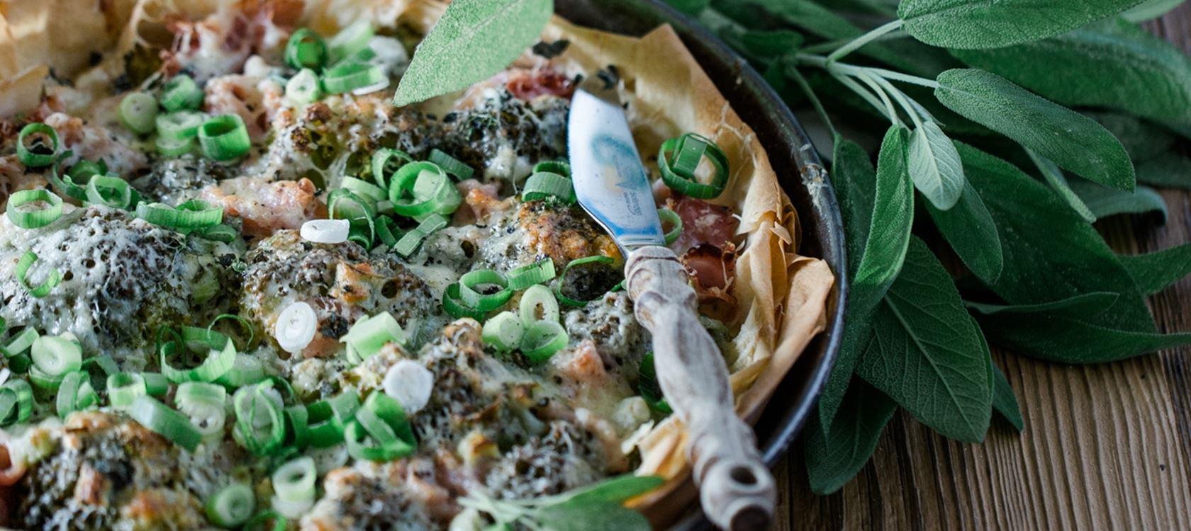 Leichte Quiche mit Brokkoli und Schinken