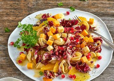 Lauwarmer Nudelsalat mit Radicchio, Granatapfel, Aprikosen und Finello Salatwürfeln