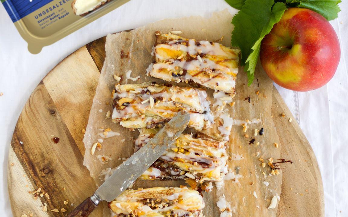 Blätterteig-Zopf mit Käsekuchen-Apfelkaramell-Füllung