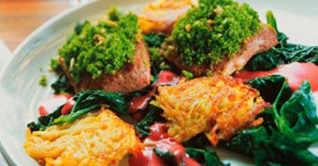 Lammfilet mit Spinatkräuterkruste