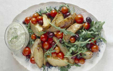 Kartoffelsalat med rucoladressing
