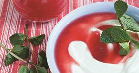 Desserttykmælk med rabarber