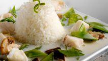Svampesuppe med rødfisk