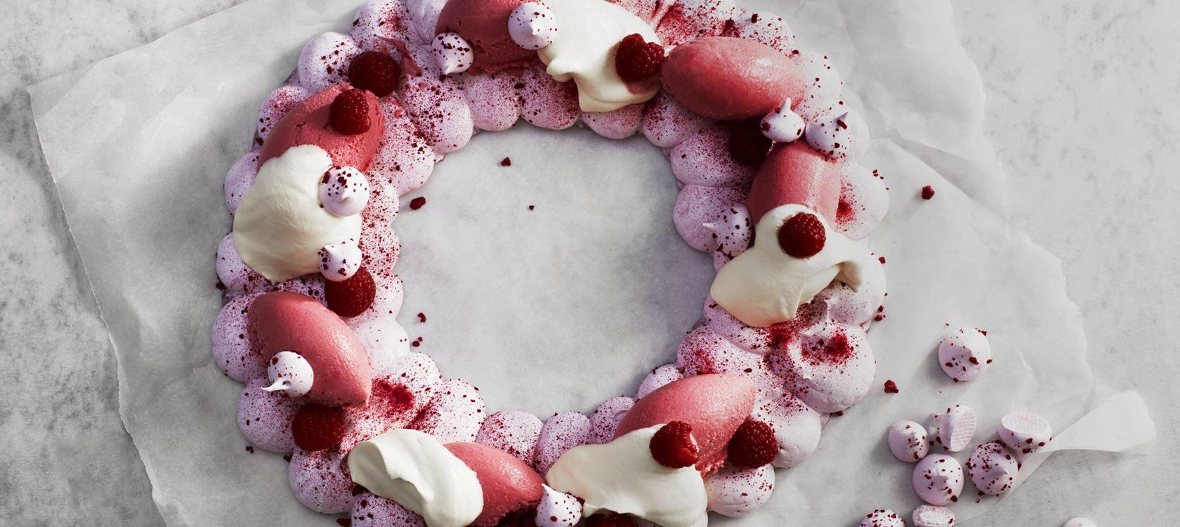 Marengskrans med hindbær