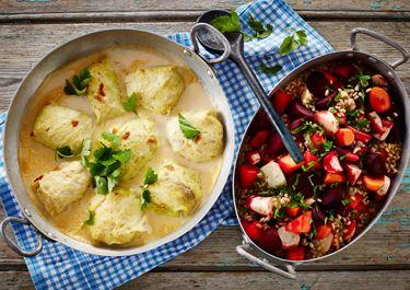 Kåldolmere med fisk og bagte rodfrugter