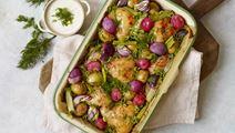 Bagte grøntsager med kylling