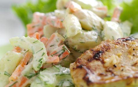 Kotelet og kartoffelsalat med citron og dild