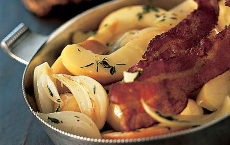 Timianæbler og bacon