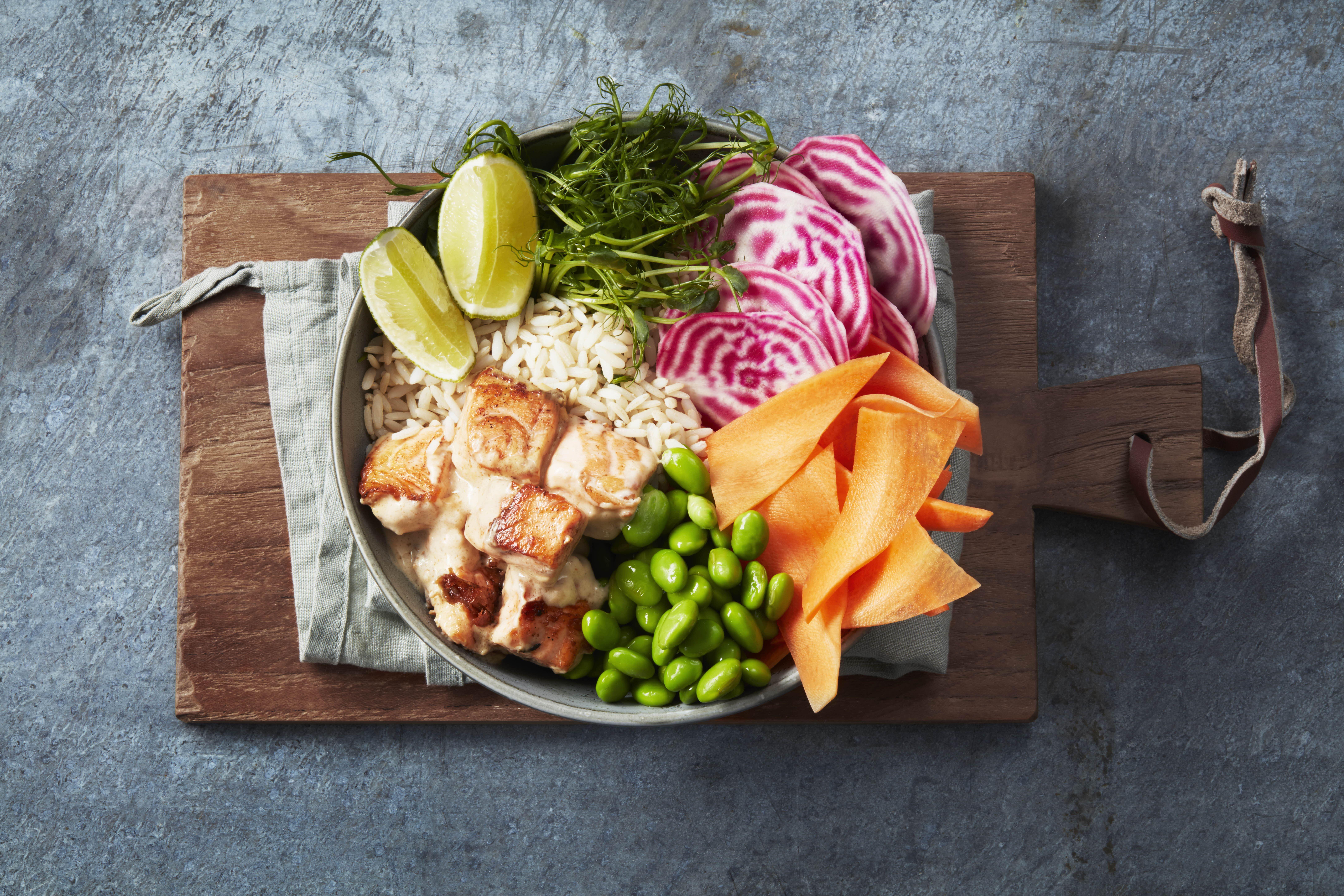 Bowl med ris og laks