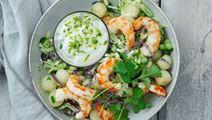 Salat med rejer og lime- og korianderdressing
