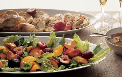 Farseret unghane og bagte frugter