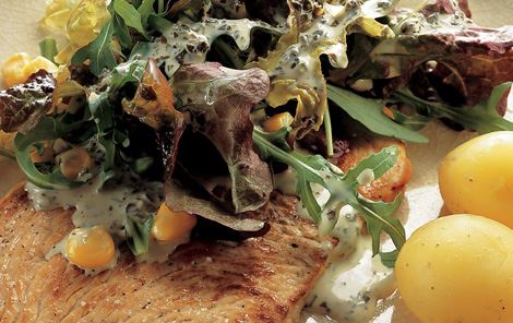 Basilikumdressing til grøn salat