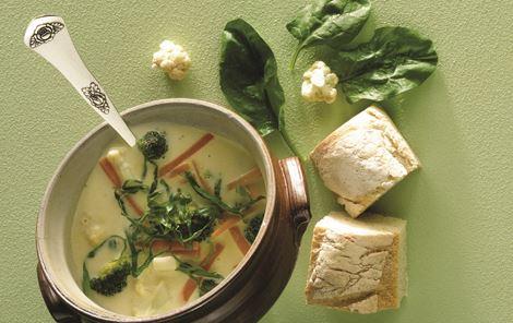Grøntsagssuppe med fyld