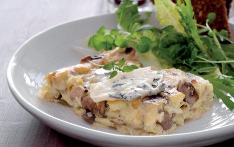 Tortilla æggekage med svampe og løg
