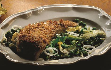 Slethvar med smørdampet salat