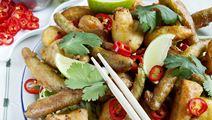 Tempurastegte grøntsager med sojadip