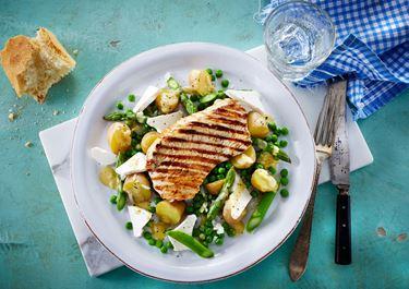 Kartoffelsalat med grønne asparges