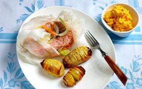 Laksepakker med hasselbackkartofler