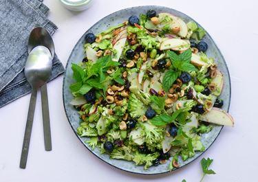 Broccolisalat med skyr, blåbær og mynte