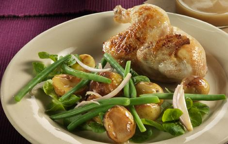 Poussiner og lun kartoffelsalat med honning og sennep