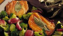 Sauté skiver med ost og skinke