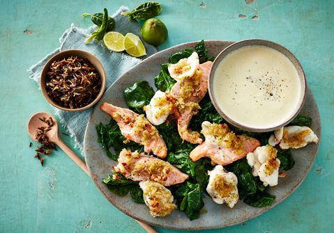 Laks og havtaske med limesauce