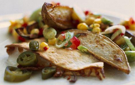 Quesadilla med auberginer og majssalsa