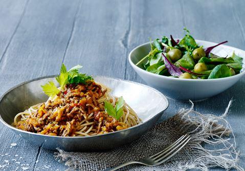 Spaghetti og kødsauce med balsamico