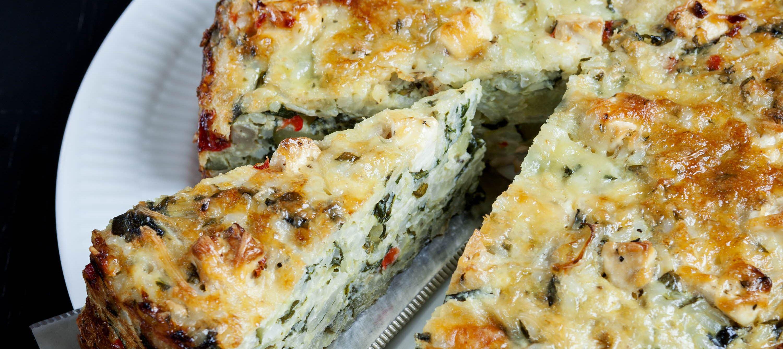 Ris- og grøntsagstærte med salatost