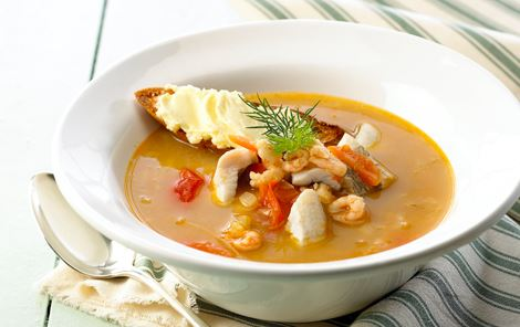 Fiskesuppe og smør-rouille