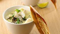 Aspargessuppe med fisk og vilde ris