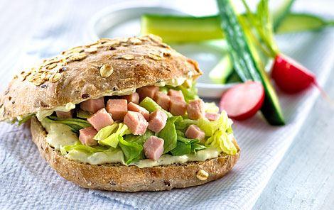 Sandwich med flødeost og hamburgerryg