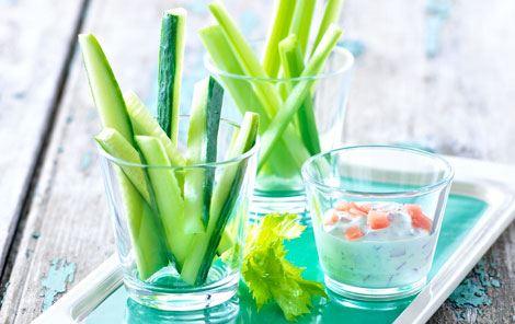 Sprøde grøntsager med dip