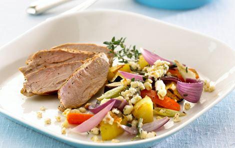 Bagte grøntsager med krydret ostedrys