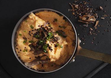 Sød kartoffelmos med sprød top