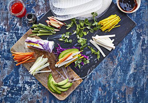 Vegetariske rispapirsruller