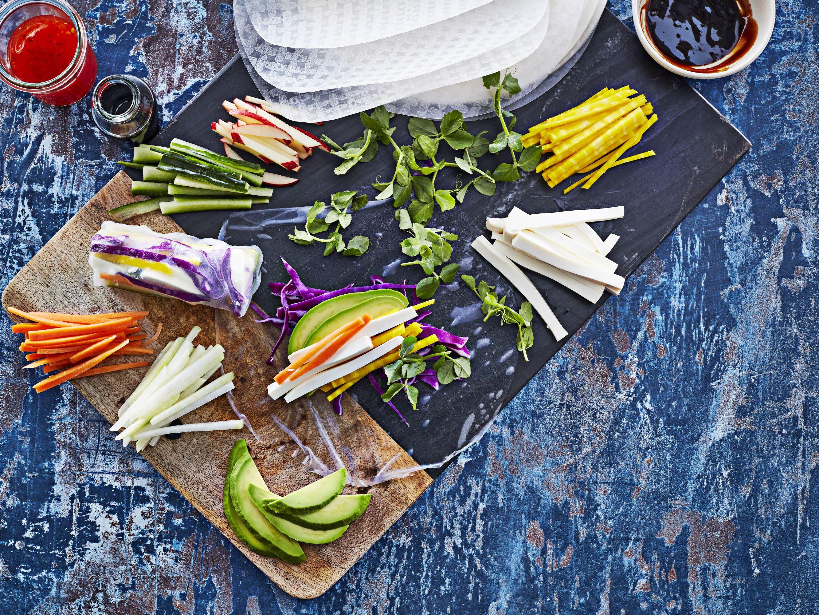 Vegetariske rispapirsruller med queso fresco