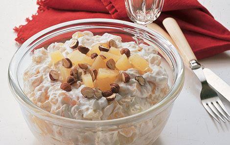 Frugtsalat med vaniljekvark