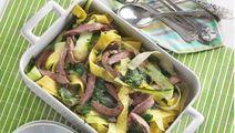 Squashpasta med spinat og flanksteak