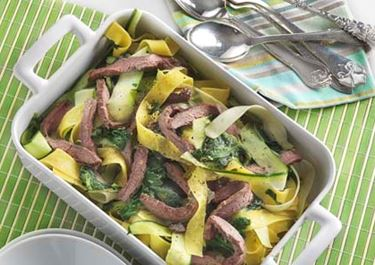 Squashpasta med spinat og flanksteak - ARKIV