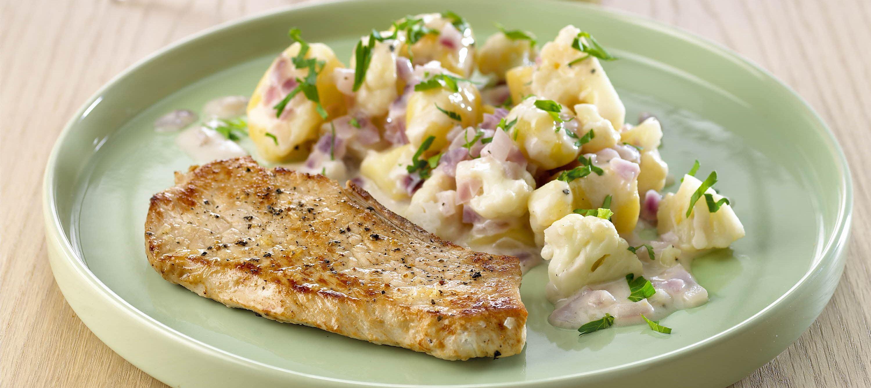 Varm kartoffelsalat med cremefraiche