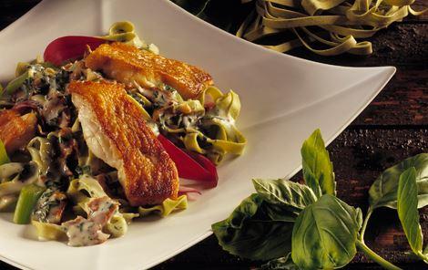 Basilikumsauce til pasta og rødfisk