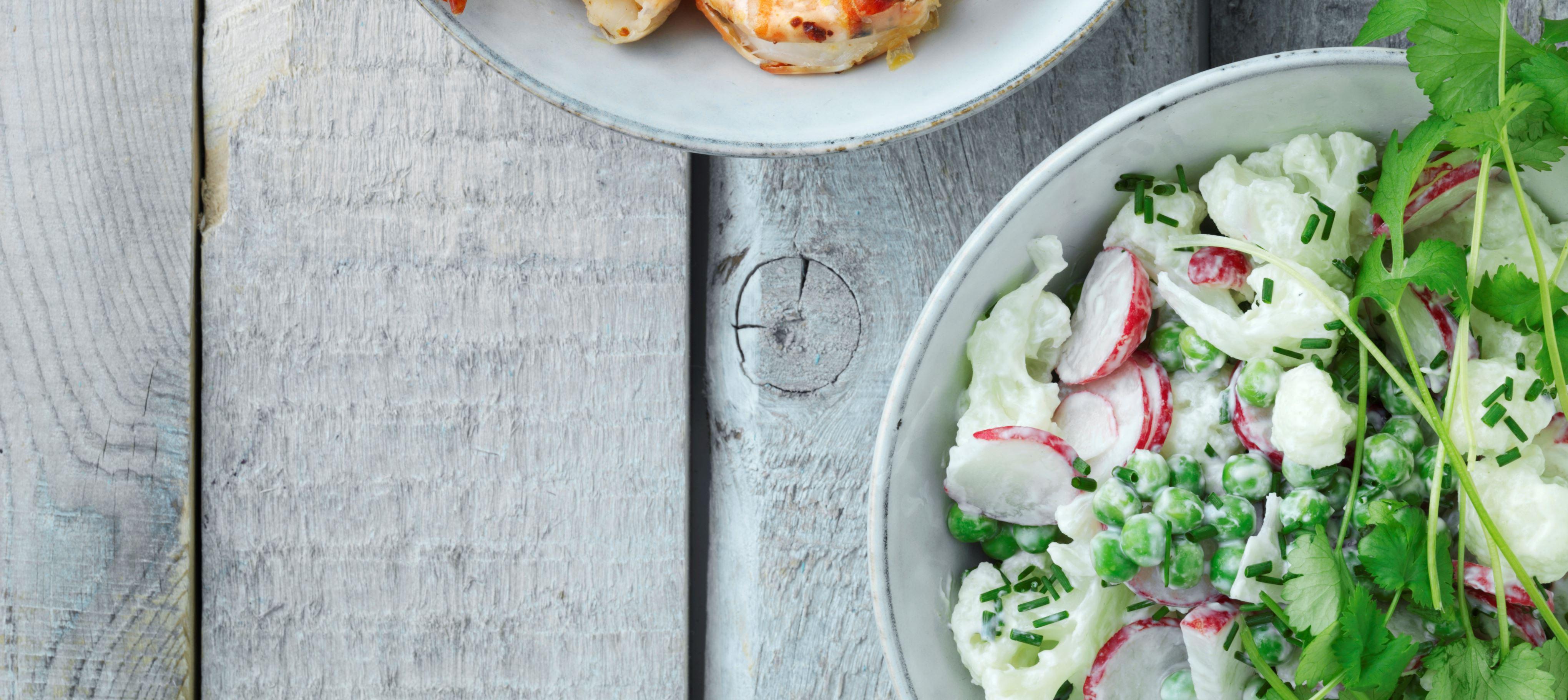 Grillede rejer med blomkålssalat og wasabicreme