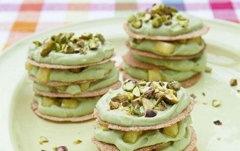 Mini-lagkager med avocadocreme